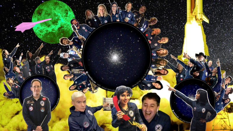 International Space Orchestra and the Avalanches on an image of M13 by Franck Marchis,Unistellar